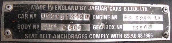 Xjs Data Catalog Car Numbers Jaguar Xjs Information